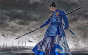 spear, battle, Daidoji Teruo, gray, samurai
