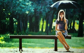 girl, umbrella, rain