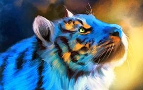 тигр, цифровое искусство, животные