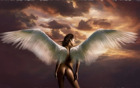 облака, крылья, девушка, обнаженная, небо, ангел