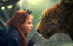 девушка, произведение искусства, рыжие, леопард