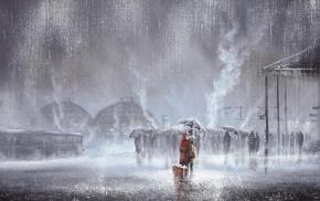 artwork, kissing, rain