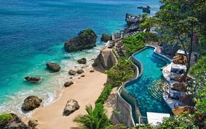 камни, скалы, океан, дом и уют, рай, indonesia