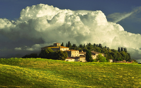 mountain, house, Italy, clouds, stunner