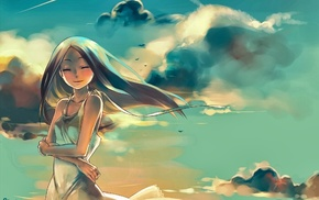 anime, anime girls, original characters, clouds