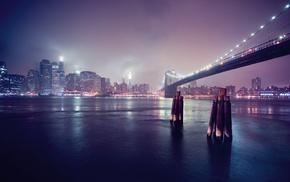 city, Brooklyn Bridge, New York City, bridge