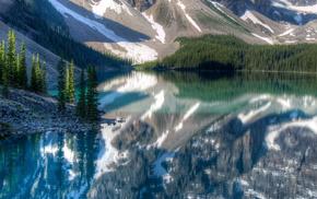 природа, красота, лес, озеро, Канада, горы