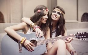 girl, brunette, guitar, singing, sitting