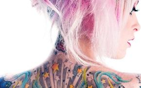 голубые глаза, девушка, розовые волосы, тату