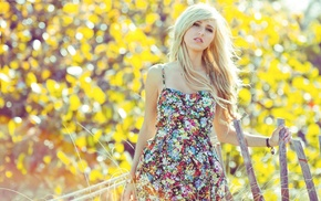 blonde, dress, bokeh, girl, floral