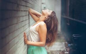 girl, brunette, white tops, smooth skin, against wall