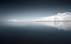 облака, вода, море
