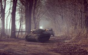 road, tank, forest, gun