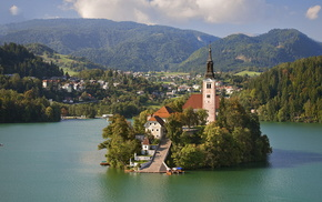 остров, небо, Словения, строения, озеро, красота