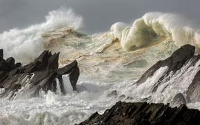 rocks, waves, storm, stunner