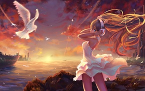 windy, doves, landscape, Hatsune Miku, anime, anime girls