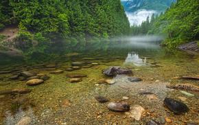 river, mist, stones, Canada, nature