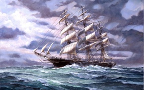 ocean, sailfish, ship, painting, painting