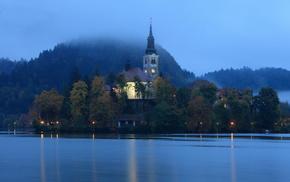 Словения, красота, Бледское озеро, огни, вечер, деревья
