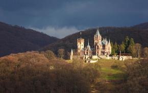 замок Драхенбург, красота, красивые, лес, небо, Германия