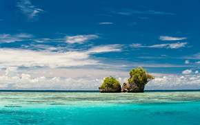 stunner, rocks, ocean, greenery, sky