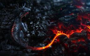 CGI, dragon, fantasy art