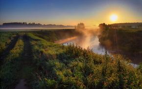 river, Ukraine, fishing, nature, mist