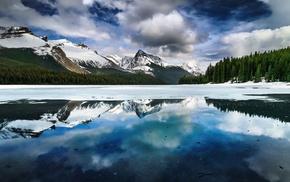 горы, деревья, отражение, озеро, Канада