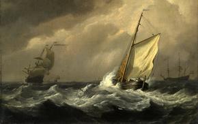 storm, painting, sailfish, people, painting
