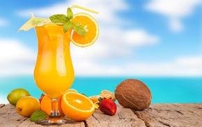 лайм, апельсины, лимон, вкусно, лето, небо
