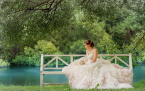 river, dress, stunner, bouquet, girl