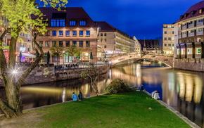 lights, cities, Germany, bridge, evening