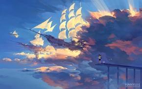 фантастическое исскуство, солнечный свет, облака, корабль, аниме