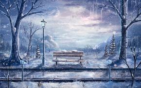 дорога, зима, огни улицы, скамейка, произведение искусства