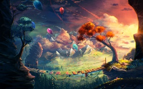 artwork, balloons, mountain, fantasy art, bridge, Sylar