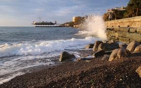 Крым, прибой, Ялта, утро, волна, набережная