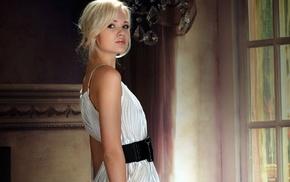 белое платье, блондинка, девушка