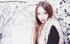 face, redhead, girl, pale, snow, winter