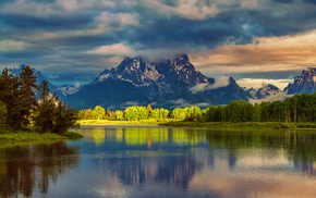 mountain, USA, cloudy, reflection, river
