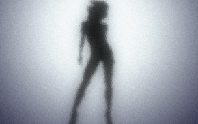 blurred, silhouette, outline, girl, glass