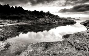 река, холм, монохром, природа, скала