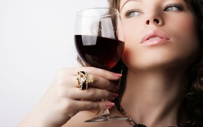 necklace, glass, girl, wine