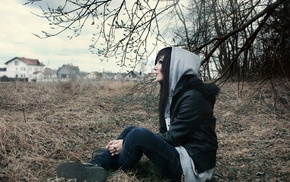 dark hair, hoods, sitting
