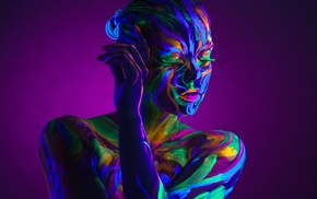 purple background, neon, bare shoulders, body paint, closed eyes, girl