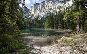вода, Австрия, природа, озеро Грюнер, лес, деревья