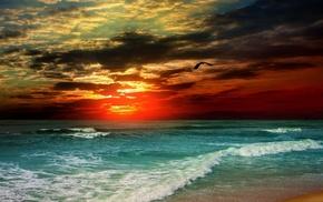 закат, природа, Море, берег, вечер, солнце