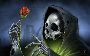 dark, death, skull, rose