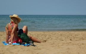 море, пляж, девушки, тату, девушка