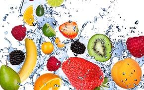 малина, вода, абрикос, клубника, фрукты, лайм
