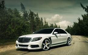 автомобили, Mercedes Benz, лес, пасмурно, небо, мерседес бенц